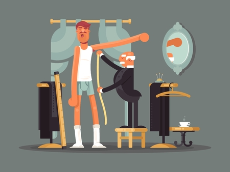tailoring: Taking measures at tailor shop. Tailoring, custom clothes vector illustration.