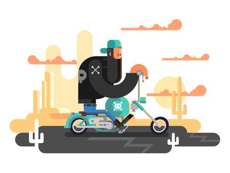 motorbike: Cool biker on a motorcycle. Transportation vehicle, speed transport, riding engine power, vector illustration
