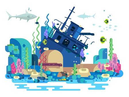 Sunken ship under water. Sea reef and fish, underwater nature, vector illustration