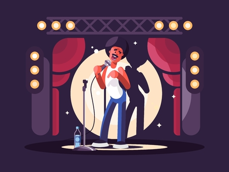 Standup show design flat. Man with microphone on stage. Vector illustration