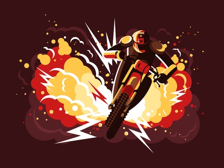 explosion engine: Stuntman on motorcycle in helmet on background fire after explosion. Vector illustration