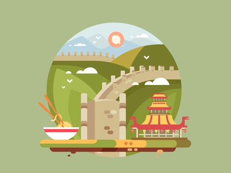 Great wall of china. Famous landmark and chinese architecture, vector illustration