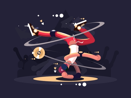 break dance: Breakdancer dancing on stage in night club. Vector flat illustration