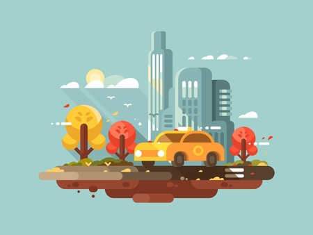 skyscraper skyscrapers: City taxi design flat. Yellow cab drive in town. Vector illustration Illustration