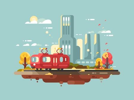 Projekt retro tramwaj płaski. Publiczny transport pasażerski w mieście. Ilustracji wektorowych
