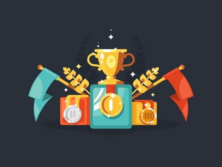 gold cup: Pedestal design flat with gold cup medals and flags. Vector illustration