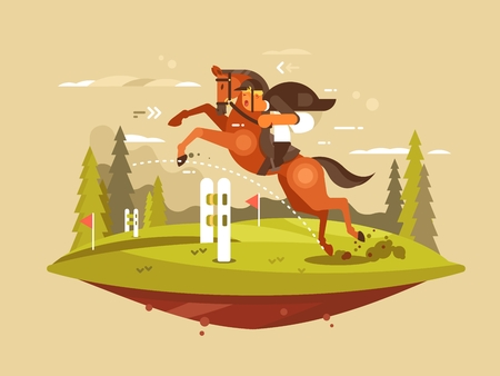 Horseback riding design flat. Horse and rider jumping hurdles. Vector illustration