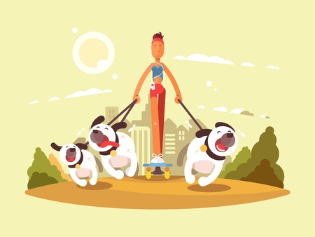 Woman on skate walk with dogs. Stroll in park with favorite pets. Vector illustration