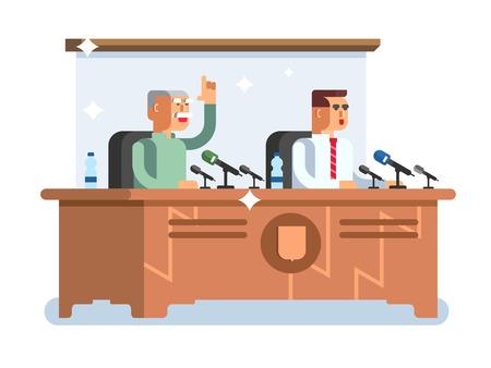 press conference: Conference design concept. Meeting presentation, seminar room, speech discussion, vector illustration Illustration