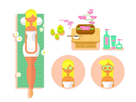 beauty woman face: Woman spa concept. Face beauty, cosmetic and care girl, salon and mask, flat vector illustration