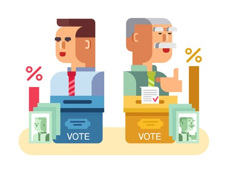 politics: Elections candidates characters. Government, voting political, politic and democracy, flat vector illustration