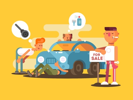 Setting car for sale. Automobile inspection before purchase. Vector illustration