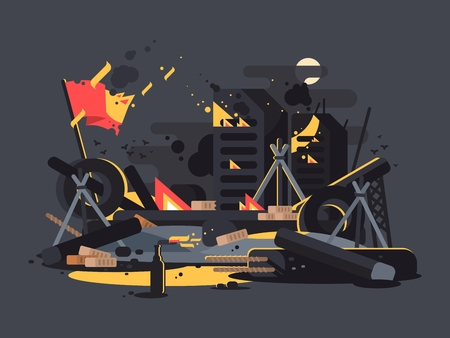 molotov: Barricades on fire. Pile of debris, tires and molotov cocktails. Vector illustration