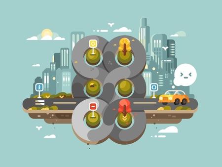 crossroad: Confused transport hub. Circular traffic crossroad in big city. Vector illustration Illustration