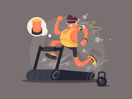 endurance run: Young man running on treadmill, dreaming about the beautiful press. Vector illustration