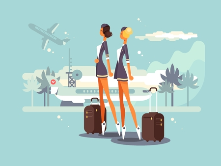 airstrip: Beautiful flight attendants on airstrip waiting plane. Vector flat illustration