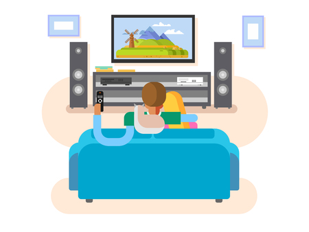 woman watching tv: Interior home cinema. House furniture, movie and tv, screen and audio stereo, vector illustration
