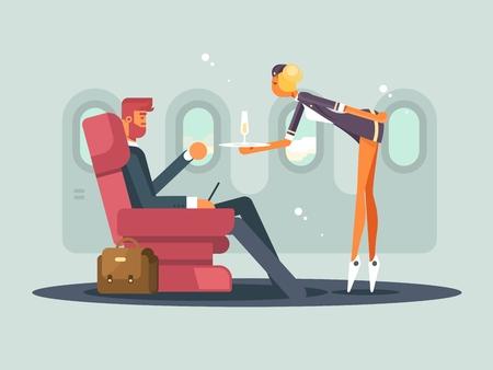 飛機上的商務艙。女服務員帶來了香檳乘客。矢量插圖 向量圖像