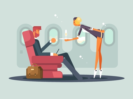 Business class on plane. Waitress brings champagne passenger. Vector illustration