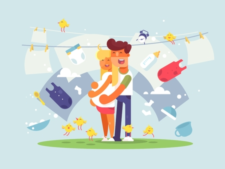 paternity: Happy couple expecting a baby. Adding to young family. Vector illustration