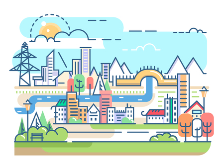 condominium: City with river and dwellings. Town condominium in linear style. Vector illustration Illustration