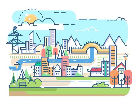 Stad met rivier en woningen. Town condominium in lineaire stijl. Vector illustratie