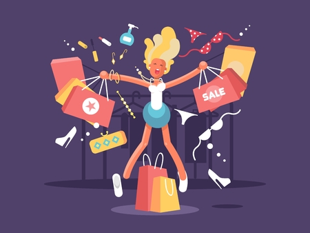 pretty blonde girl: Young blonde goes shopping. Happy woman with Purchase bags. Vector illustration