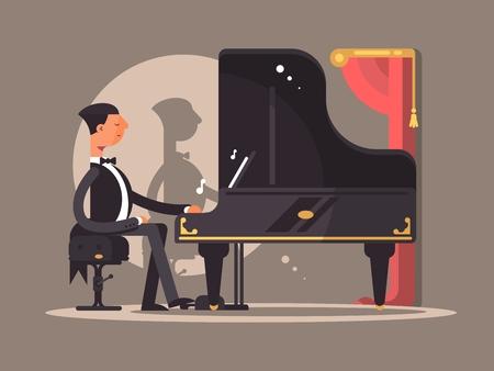 pianista: El pianista se presenta en concierto. rendimiento compositor famoso. Vector ilustración plana