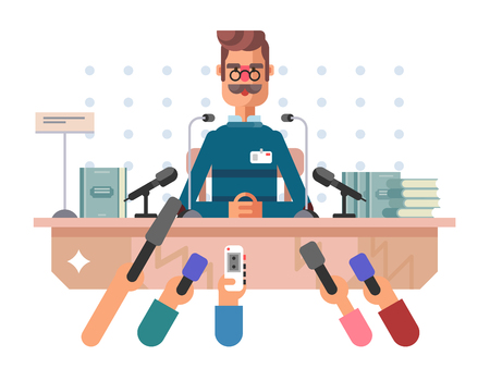 official record: Press conference man. Microphone media, news speech, event politician, vector illustration