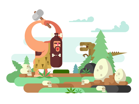 primitive: Primitive man with dinosaur. Caveman cartoon, prehistoric animal, neanderthal vector illustration Illustration