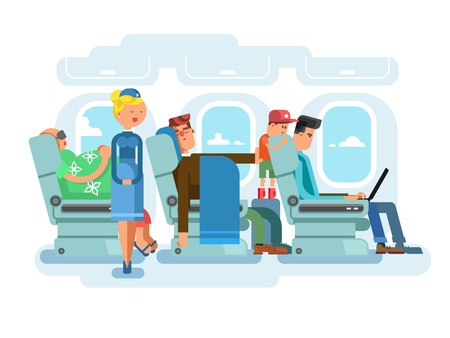 airplane: Interior of plane flat design. Transportation passenger, transport vector illustration