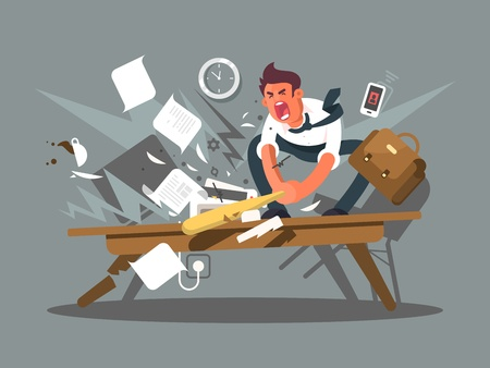 Angry and exasperated employee. Office worker smashing a table bat. Vector illustration