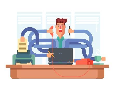 Hombre polivalente empleado de oficina. El hombre de negocios ocupado, estrés laboral, ilustración vectorial