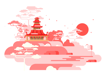 tranquil scene: China painted landscape. Asia nature, traditional culture design, vector illustration