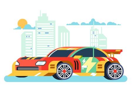 spoiler: Tuned machine. Sport ar, transportation automotive, motor and vehicle, flat vector illustration