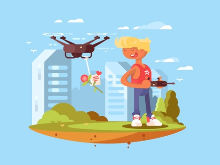 controlled: Delivery using quadrocopters. Man controlled flying drones. Vector flat illustration