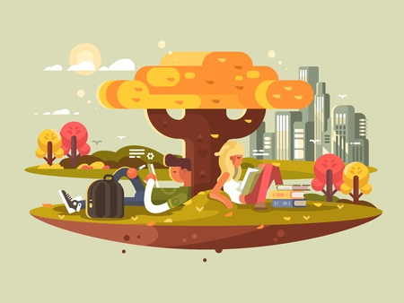 Students studying in park. A guy and girl reading while sitting under tree. Vector illustration Illustration