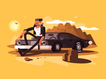 vintage cigar: Tough man near car with bottle and gun in desert. Vector illustration