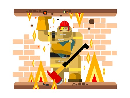 Fire man character with baby. Salvation and firefighter, flat vector illustration