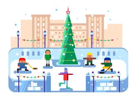 rink: Municipal skating rink Christmas tree. Winter skate, evening xmas, skater leisure, vector illustration