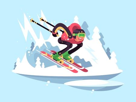 Man skiën in de winter. Skiër snel naar beneden van de bergen. vector illustratie