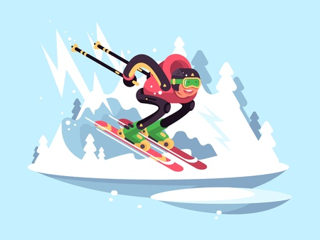 quickly: Man skiing in winter. Skier quickly down from mountain. Vector illustration