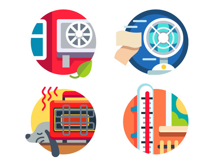 Climate control icons. Cools or heats of room. Vector illustration Illustration