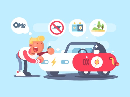 purchasing power: Electric car and happy owner. Advantage of electric vehicle. Vector illustration