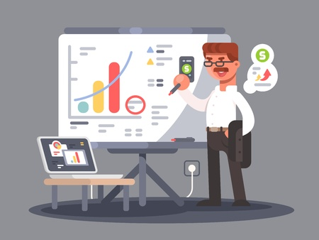 an analyst: Business analyst shows presentation with charts and graphs. Vector illustration