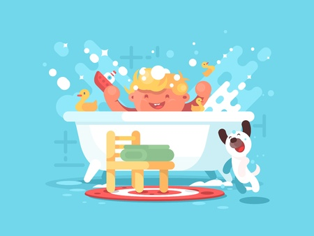 child boy: Child plays in bathroom. Little boy splashing with toys. Vector illustration
