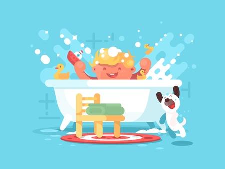 Child plays in bathroom. Little boy splashing with toys. Vector illustration