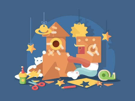 Young cosmonaut building space rocket from cardboard. Vector flat illustration
