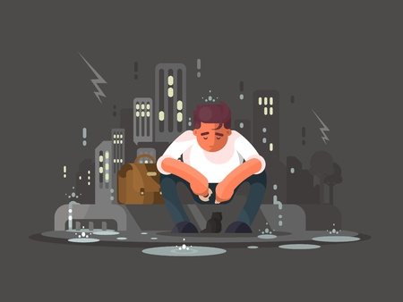 feeling exhausted: Young man sitting on curb in depression in rain. Vector illustration