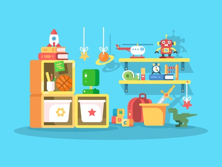 child room: Interior of child room with the ball toys, robot, helicopter. Vector illustration